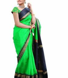 Buy Sea green printed bhagalpuri saree with blouse party-wear-saree online