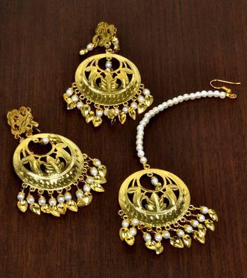 Gold pearl peepal patti danglers-drops