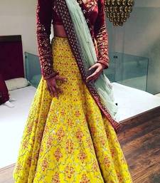 Buy Yellow embroidery banglory silk ghagra choli ghagra-choli online