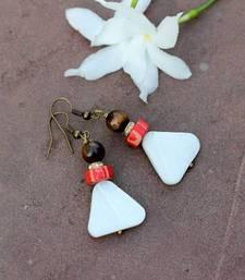 Buy White Triangle Earrings danglers-drop online