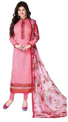 Pink Embroidered Georgette Unstitched Salwar With Dupatta