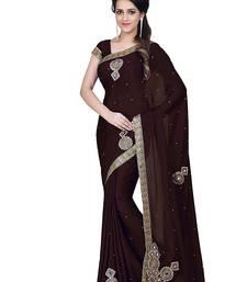 Buy Brown embroidered satin saree with blouse satin-saree online