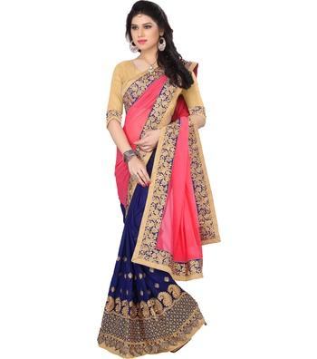 IndianEFashion Pink Georgette Embroidery  Half & Half Self Designer Saree