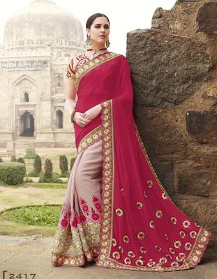 IndianEFashion Maroon Chiffon Embroidery  Designer Saree