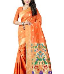 Orange woven paithani art silk saree with blouse