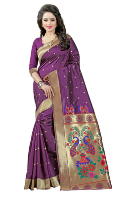 Purple woven paithani art silk saree with blouse