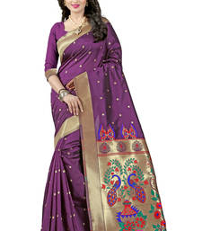 Buy Purple woven paithani art silk saree with blouse paithani-saree online