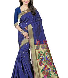 Navy blue woven paithani art silk saree with blouse
