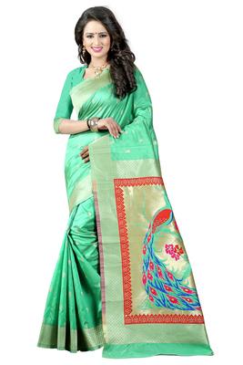 Sea green woven paithani art silk saree with blouse
