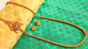 Gorgeous Matte Finish Ruby Emerald Mugappu Chain With Earrings