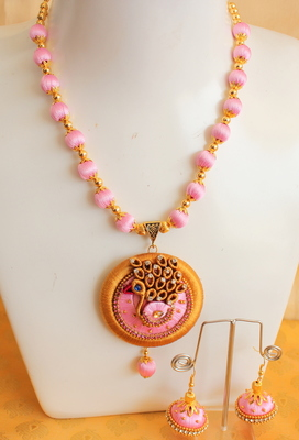 Unique Handmade Silk Thread Pink Peacock Necklace Set