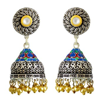 Meenakari Antique pearl silver plated tokri jhumki earring