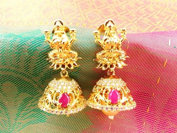 Lovely Pink & White Temple Jhumkas