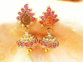 Lovely Pink Kemp Temple Jhumkas