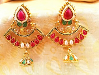 Gorgeous Multi-Color Kemp Designer Temple Jhumkas