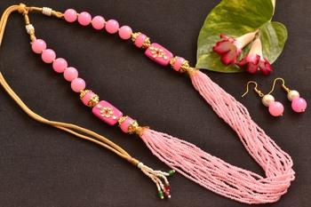 Pink Kundan Work Necklace