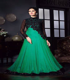 Buy Parrot green stone silk semi stitched salwar with dupatta silk-georgette-salwar online