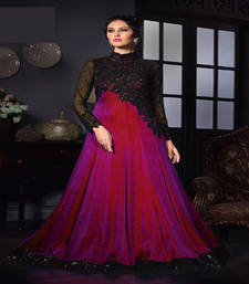 Buy Pink stone silk semi stitched salwar with dupatta silk-georgette-salwar online