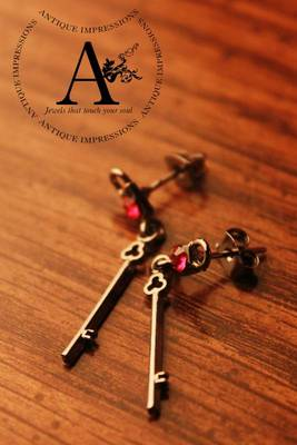 Black Key Red Crystal earring, Gemstone Brushed Black attached Gemstones