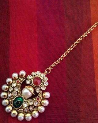 Maroon green pearl polki mang tikka Indian ethnic copper hair jewelry ADIVA AB50