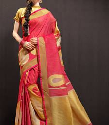 Buy pink woven cotton saree with blouse organza-saree online