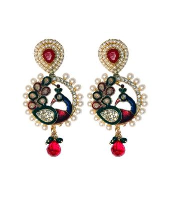 Multicolor Pearl Peacock Polki Ethnic Designer earrings