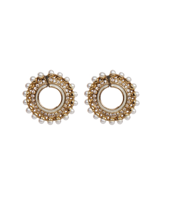 Gold Pearl Chand Bali Stone Studded earrings
