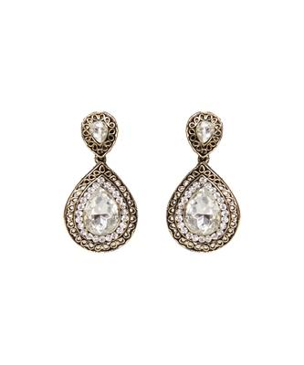 Dull Gold Oxidised Diamante Stone Designer earrings
