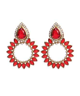 Red Gold Polki Pearl Stones Chand earrings