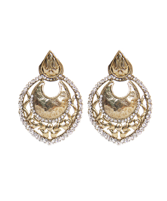 Gold Silver Stone Studded Ethnic Contemporary earrings
