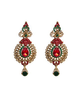 White Pearl Red Green Stone Studded earrings