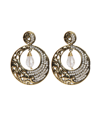 Silver Stone Studded Gold Designer Earrings earrings