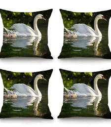 Buy Swan HD Digital Premium Cushion Cover - Set of 4 (16 x 16 Inch) pillow-cover online