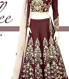 Buy Maroon embroidered dupion banglory silk unstitched lehenga ethnic-lehenga online