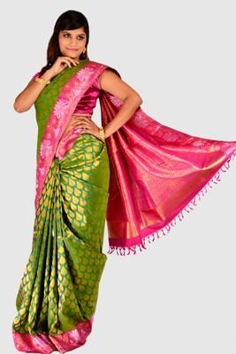 a8f8f6d97a Designer Green Zari weaved Kanjeevaram saree with Rani Pink Border - SR1196  - mirraw test - 258340
