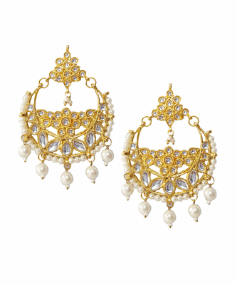 Gold kundan crystal danglers drops
