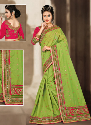 a547b9ad5ae49d Buy Parrot green hand woven chanderi silk saree with blouse Online