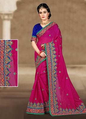 559bcf69c553d4 Rani pink hand woven chanderi silk saree with blouse - Vasu Sarees - 1952976