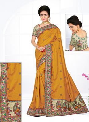 Mustard hand woven manipuri silk saree with blouse