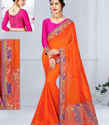 Buy Orange hand woven jute saree with blouse jute-saree online
