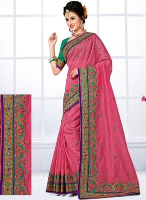 b2f6cd206ceb6b Onion pink hand woven chanderi silk saree with blouse - Vasu Sarees -  1953023