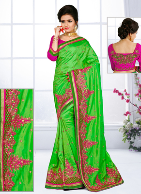 3b41815d114afd Parrot green hand woven silk saree with blouse - IMPRESSED COLLECTION -  1953158