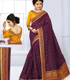 Buy Dark brown hand woven chanderi silk saree with blouse chanderi-saree online