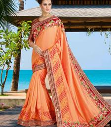 Buy coral embroidered silk saree with blouse silk-saree online