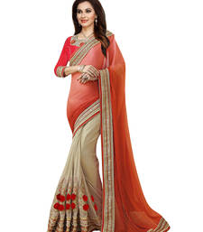 Buy Beige embroidered georgette saree with blouse eid-saree online