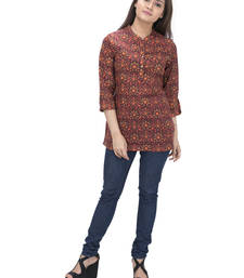 Buy brown plain cotton  stitched kurti tunic online