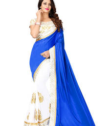 Buy Blue embroidered silk saree with blouse half-saree online
