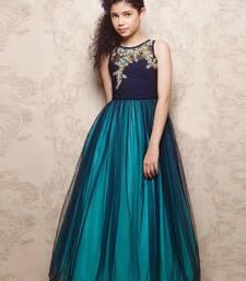Buy Blue zardosi silk kids salwar kids-salwar-suit online
