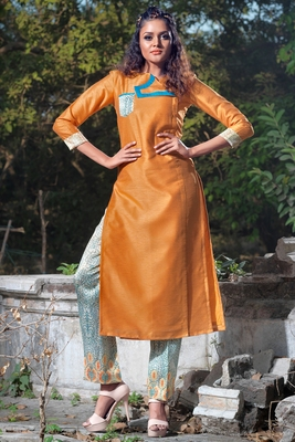 Mustard faux georgette art silk stitched kurti