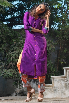 Purple faux georgette art silk stitched kurti